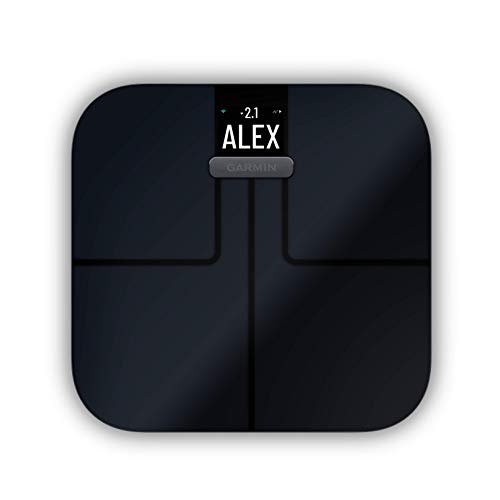 Garmin Index S2, Smart Scale with Wireless Connectivity, Measure Body Fat, Muscle, Bone Mass, Body Water% and More, Black
