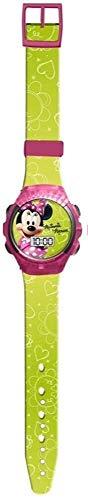 Minnie Mouse Reloj Digital con Cristal Estilo Cubierta Amarillo/Rosa