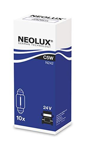 NEOLUX Estándar C5W, lámpara de señal para camiones, N242, 24V, 5W, (paquete de 10 bombillas), SV 8,5-8