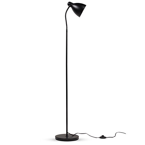 Wallniture Sol Adjustable Reading Floor Lamp with Foot Control On Off Switch Black