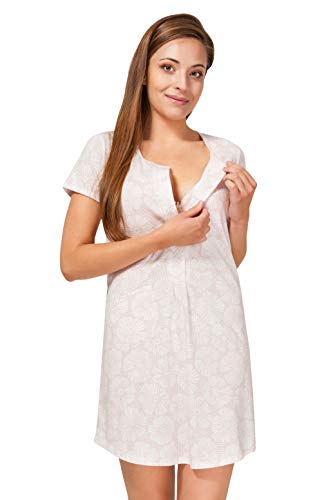 Sibinulo Camisón de Maternidad Pijama Lactancia Vestido Rosa Pastel con Flores Blancas S