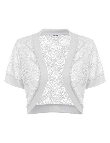 Parabler Damen Bolero Kurz Cardigan Spitzen Jäckchen Elegant Offene Blazer Shrug Top Weiß 36/ S