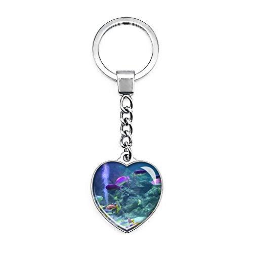Llavero de acuario de Inglaterra con forma de corazón de cristal de doble cara para viaje, recuerdo de metal