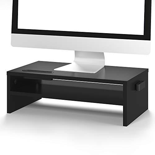 BONTEC Soporte Monitor Mesa Elevador Monitor Soporte Portatil Ordenador 2 Niveles Negro, W420 x D235 x H142mm con Soporte para Teléfono Inteligente y Gestión de Cables