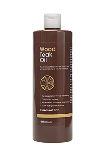 Furniture Clinic Teak Oil (500 ml)- Wood Oil Protects Outdoor Furniture - Restores Wood and Prevents Drying and Deterioration - Quick Drying - Natural Matt Finish