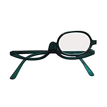 Tennessee526 Unisex 180 Degree Rotation Folding Monocle Magnifying Make Up Spectacles Flip Down Lens Makeup Reading Eye Glasses Green 3.00 Diopter