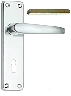 Bulk Hardware BH00002 150 mm / 6 inch greepset met slot, aluminium glanzend, wit
