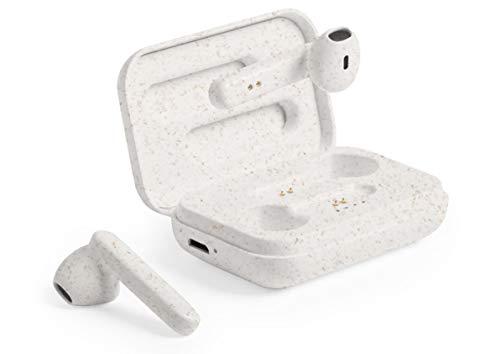 MKTOSASA Nature Line In-Ear-Kopfhörer mit Bluetooth 5.0 Ladestation mit LED-Anzeige für Ladestatus und Freisprechfunktion – 4,5 x 6,8 x 2,2 cm Weizenrute