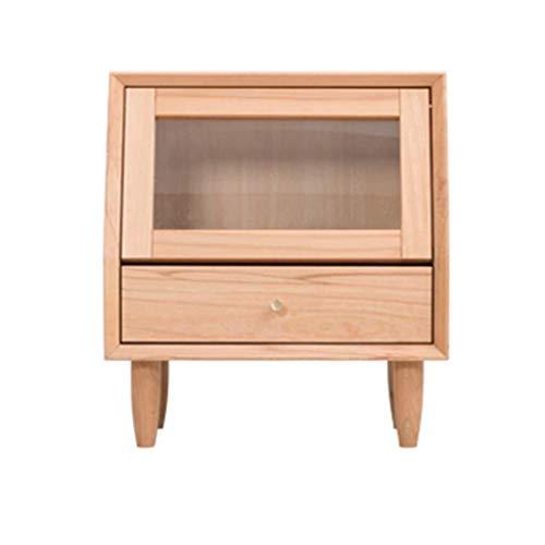 Nachttisch Met Love Schminktisch Glastür Massivholz Kinderschrank Wirtschafts Bücherregal Schlafzimmer Seite Holz + Kiefer (Color : Solid Wood Color, Size : 45 * 32 * 50cm)