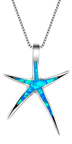 Sterling Silver Platinum Tone Plated Created Blue White or Green Opal Starfish 18' Pendant Necklace (blue Opal)