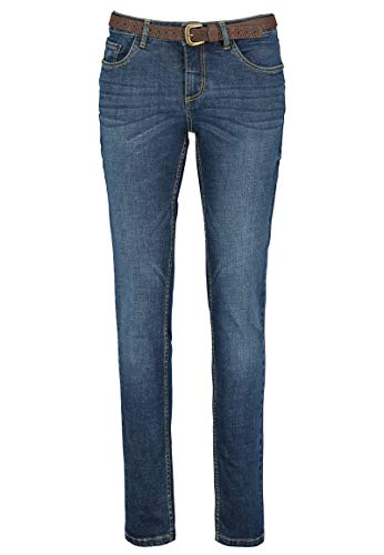 Eight2Nine Damen Skinny Jeans-Hose mit Gürtel Slim Fit Dark-Blue S
