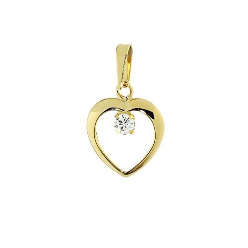 NKlaus colgante corazón 333 oro amarillo oro corazón zirconia blanco señoras 7801