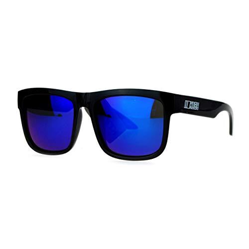 Kush Mirrored Color Mirror Lens Horned Horn Rim Sport Sunglasses Blue