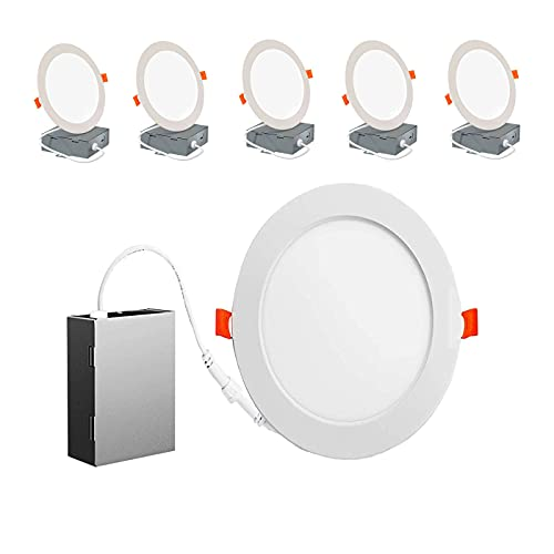 Energetic 6 Pack 6 Inch Ultra-Thin LED Recessed Ceiling Light with Junction Box,5000K Daylight 12W 110W Eqv,Dimmable Downlight, 1000LM High Brightness,50000 Hours - ETL and Energy Star Certified