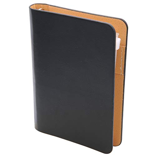 TSUKURIRO ミニサイズ 6穴 システム手帳 フェイクレザー しおり定規 ファスナー付きクリアポケット 無地ノート セット (ブラック)