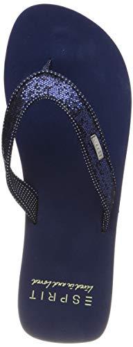 ESPRIT Damen Glitter Thongs Pantoletten, Blau (Navy 400), 38 EU