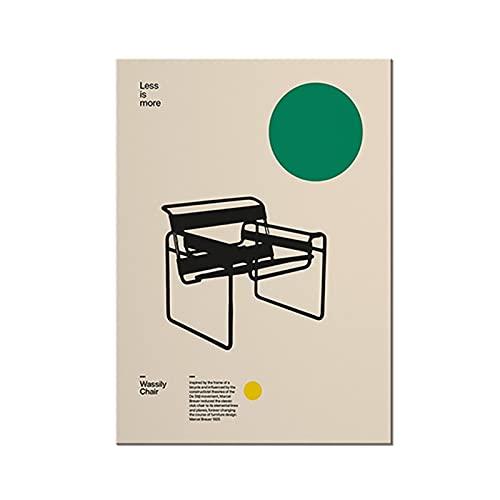 CBYLDDD Cartel Wassily Silla, Marcel Breuer, Muebles mínimos Bauhaus Design Pintura de Lona para Dormitorio Sala de Estar Baño Biblioteca O 16x24in Sin Marco