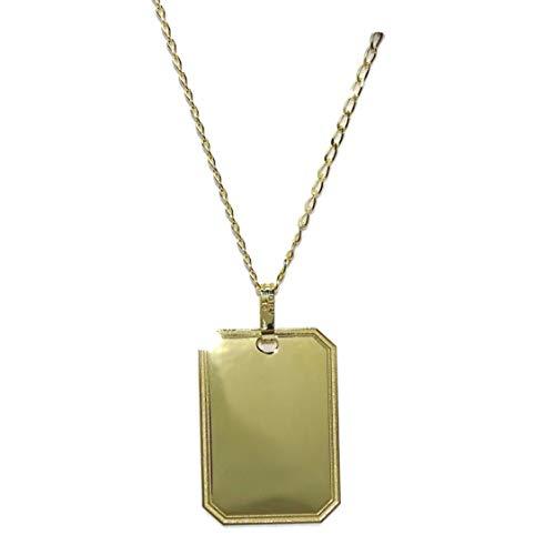 Never Say Never Placa de Oro Amarillo de 18k para Poder Grabar por Delante y por detrás con Cadena Maciza de Oro Amarillo de 18k de 50cm (joyería)