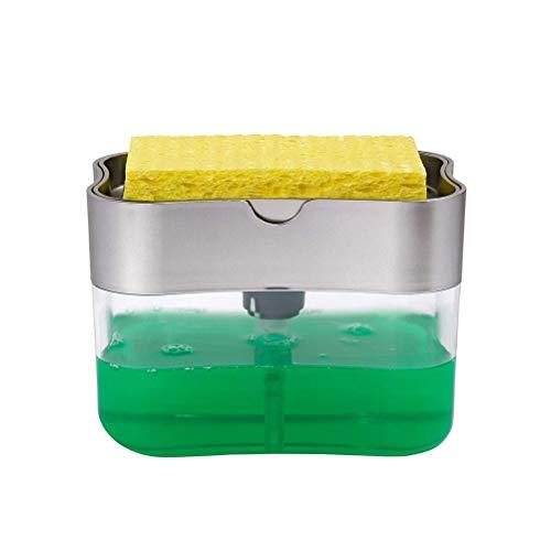 SAMTITY Juego de dispensador de jabón líquido, Organizador de Fregadero Dispensador de jabón de Bomba con Soporte de Esponja, dispensador de detergente Soporte de Utensilios de Cocina para Cocina