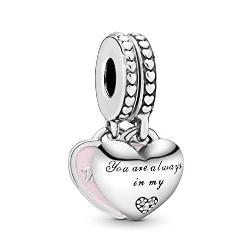 Pandora Mother & Daughter Hearts Silver & Pink Dangle Charm 792072En40