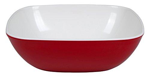 Bo-Camp BC, melamine, vierkante kom, unisex, BC Square melamine, rood/wit, 2 x