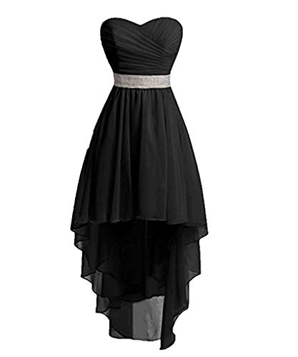 Princess Women's Sweetheart Beaded Chiffon Bridesmaid Dress High Low Country Wedding Party Gowns Black 2