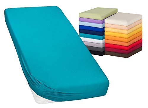 MOON-Luxury Spannbettlaken Spannbetttuch Jersey Stretch 230g/m² für Wasserbetten, Boxspringbetten und herkömmliche Matratzen (Petrol, 200x220-220x240)