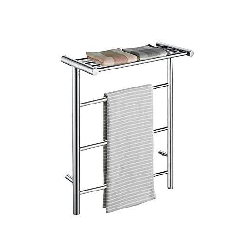 Calentador de toalla con calefacción eléctrica con estante superior, 304 Cuarto de pulido de acero inoxidable Cuarto de secado de toalla caliente Calentador de toallas, interruptor impermeable,pulg in
