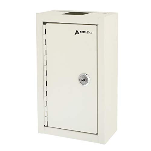 AdirOffice Large Key Drop Box – Large Capacity Commercial Grade Storage Box – Safe & Secure Parcel & Packages - for Home & Business Use (White)