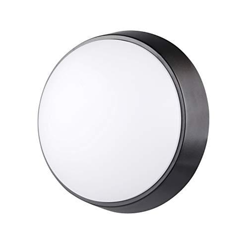 Lampe de cloison LED Rond Plafonnier Applique Éclairage Luminaire, 10W 4000K 700LM IP54, Pour l'Intérieur et l'Extérieur - Noir