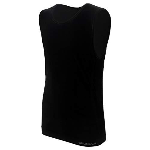 BRUBECK Herren Tanktop   T-Shirt ärmellos atmungsaktiv   Mens Tank Top Seamless Cotton   Oberteil ohne Arm   Achseltop   Achselhemd Alltag   55% Baumwolle   Gr. L, schwarz  ...
