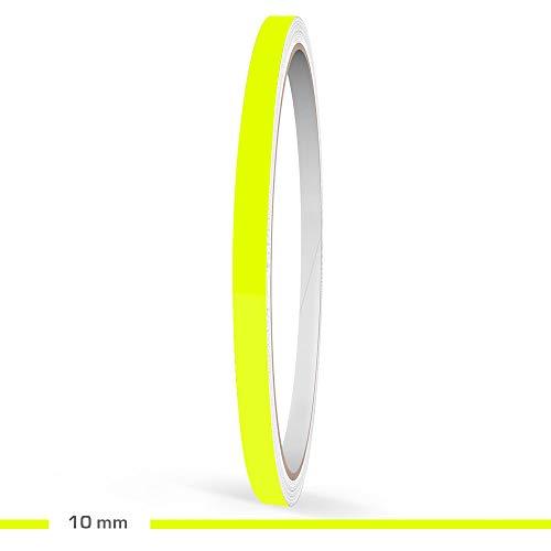 Motoking Zierstreifen, Neon Gelb Fluoreszierend, 10 mm Breite, 10 m Länge, Aufkleber Folie Auto Boot Motorrad Wohnmobil Wohnwagen & mehr