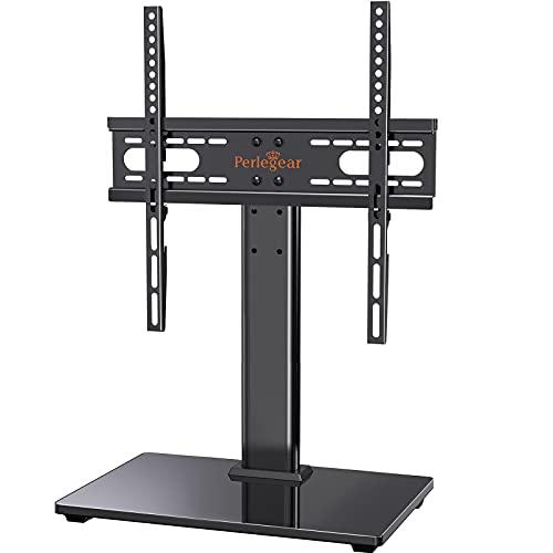 Perlegear Supporto TV Tavolo per 26-55 pollici - Altezza Regolabile Piedistallo per TV da LCD LED Plasma,che Regge fino a 40 Kg,VESA Max 400x400 mm