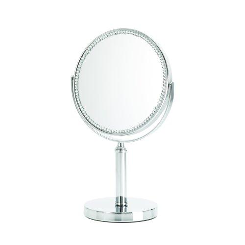 Danielle Creations Miroir sur pied grossissant x 5 bordé de strass Chromé 15 cm