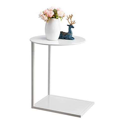 HollyHOME Round&Rectangle Metal End Side Table, Accent Anti-Rust Waterproof Simplistic Sofa Table, Modern Outdoor&Indoor Characteristic Coffee Table, (D)18.03'x(H)23.03'x(L)17.24'x(W)13.27', White