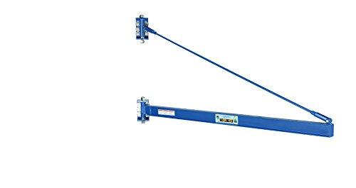 Vestil JIB-HC-20 Manual Wall Mount Steel Jib Crane, High Clearance 2000 lb Capacity, 180 degree Rotation, Tie Bar Length 76-3/4