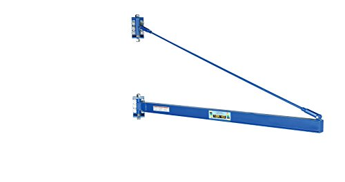 Vestil JIB-HC-10 Manual Wall Mount Steel Jib Crane, High Clearance 1000 lb Capacity, 180 degree Rotation, Tie Bar Length 76-3/4