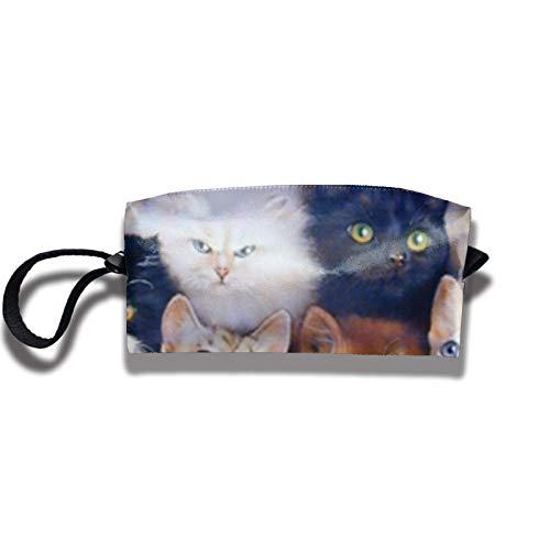 Travel Makeup Bag 2.5x3.5x9 in Cute Cats Breed Collage Pet Portable Zipper Handbag Storage Bag Multifunction Portable Bag