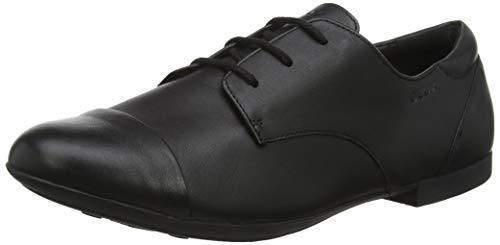 Geox Jr Plie' F, Zapatos Cordones Oxford Niñas, Negro