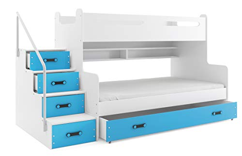 Etagenbett MAX 3 (für DREI Kinder) 200x80cm und 200x120cm Farbe: weiβ, grau, lila, rosa, grün oder blau. mit Latten und Matratzen DIREKT VOM PRODUZENTEN (blau)