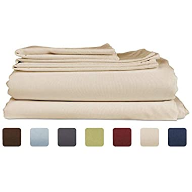King Size Sheet Set - 6 Piece Set - Hotel Luxury Bed Sheets - Extra Soft - Deep Pockets - Easy Fit - Breathable & Cooling Sheets - Wrinkle Free - Tan - Beige Bed Sheets - Kings Sheets - 6 PC