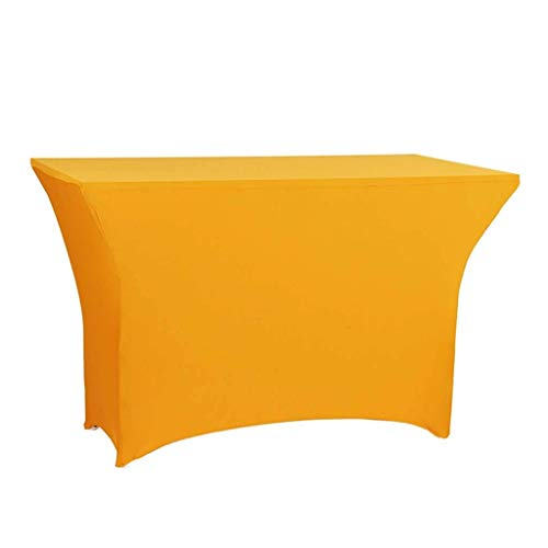 XHNXHN Mantel elástico Rectangular de Spandex para mesas, Fiestas en Interiores o Exteriores, cumpleaños, Bodas, Navidad (Amarillo, 204 * 65 * 75 cm)