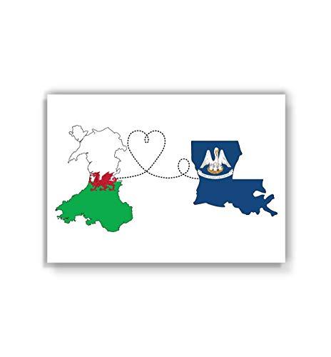 Wales to Louisiana Poster - Travel print