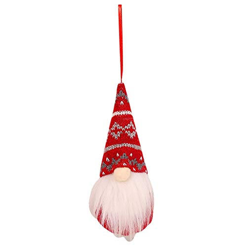 BAOMABA Christmas Swedish Gnome Tomte Plush Decoration Doll Ornaments,Xmas Home Ornaments Christmas Decoration Table Decor Present (Red-D)