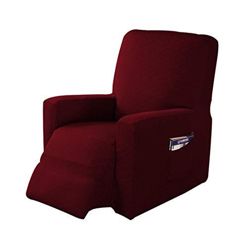 Jubang Sesselschoner Sessel-Überwürfe, Elastisch Sesselbezug, Bezug für Fernsehsessel, Liege Sessel, Schaukelstuhl, Weich Antirutsch Husse für Relaxsessel Weinrot