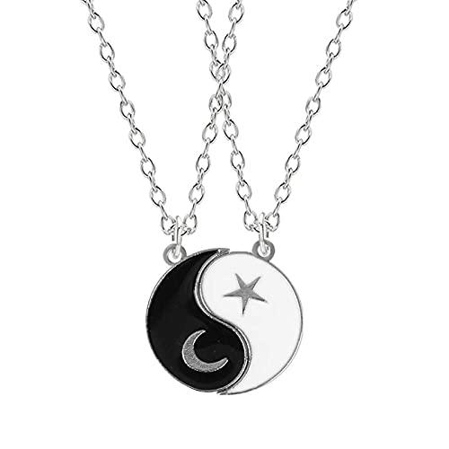 Collar 2 piezas parejas estrella luna colgante de Tai Chi collar para mujeres hombres amantes gargantilla a juego mejor amigo collar de la amistad regalo de la joyería