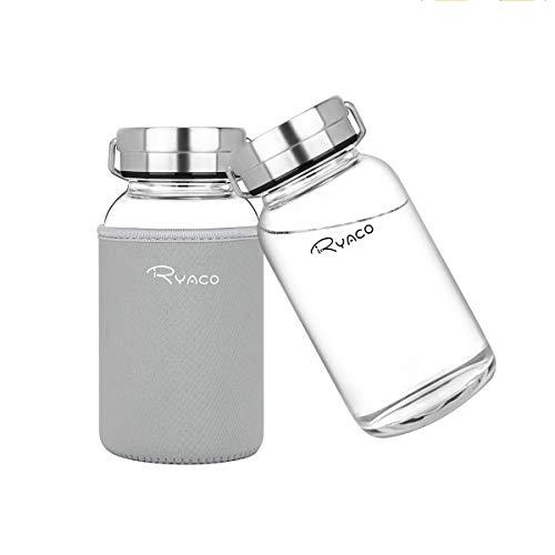Ryaco Bottiglia d'Acqua, 800ml Bottiglia Vetro Trasparente Portatile con Guaina Protettiva in Neoprene per Il Campeggio Viaggi tè Ufficio, Grigio
