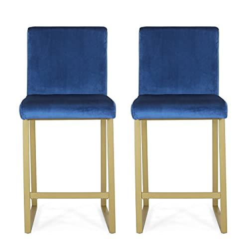 Christopher Knight Home Lexi Modern Velvet Barstools, Navy Blue and Brass (Set of 2)