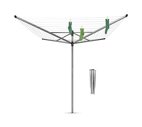 Brabantia Lift-O-Matic Tendedero de Jardín con Soporte, Acero Inoxidable, Gris Metalizado, 60 m de cuerda