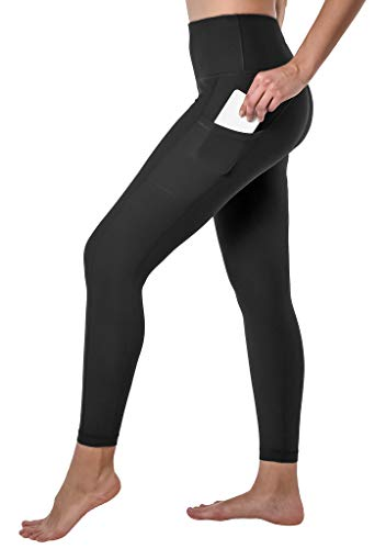 90 Degree By Reflex Squat Proof High Rise Ankle Length Leggings with Back Zipper and Side Pockets - Black - XS